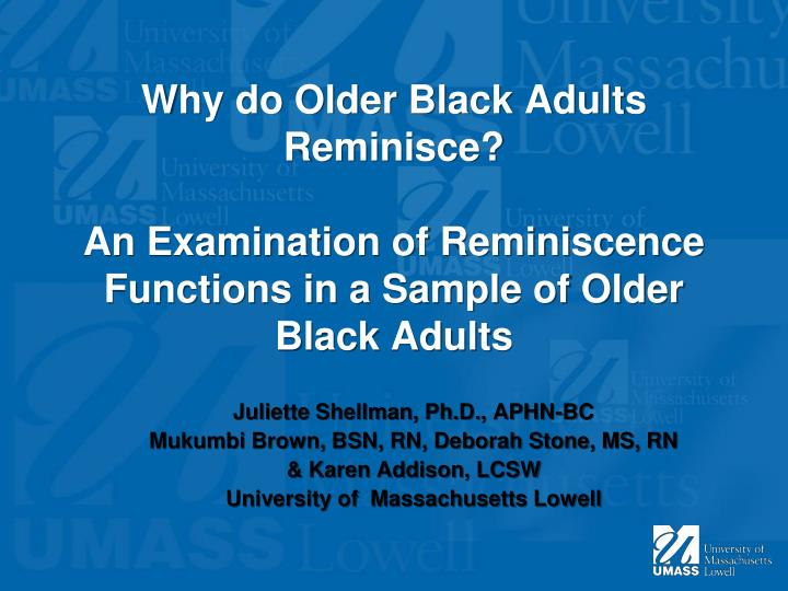 Why do Older Black Adults Reminisce?