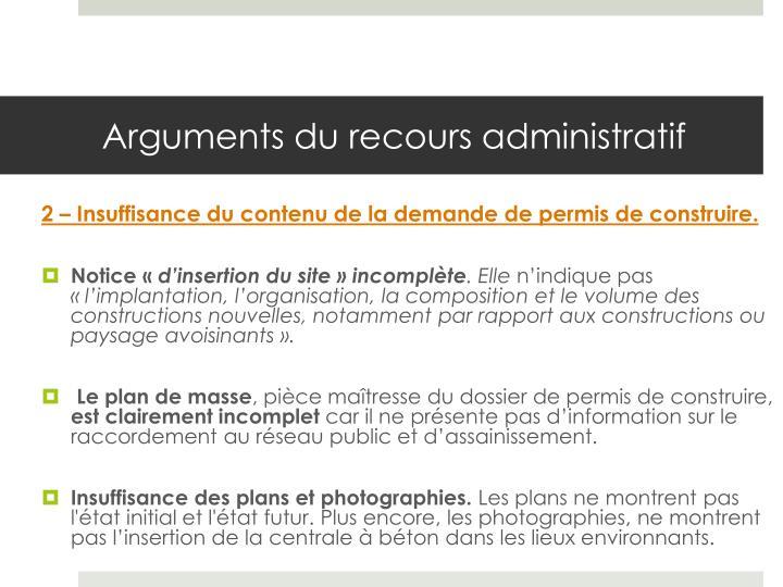 Arguments du recours administratif