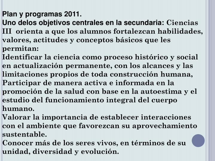 Plan y programas 2011.
