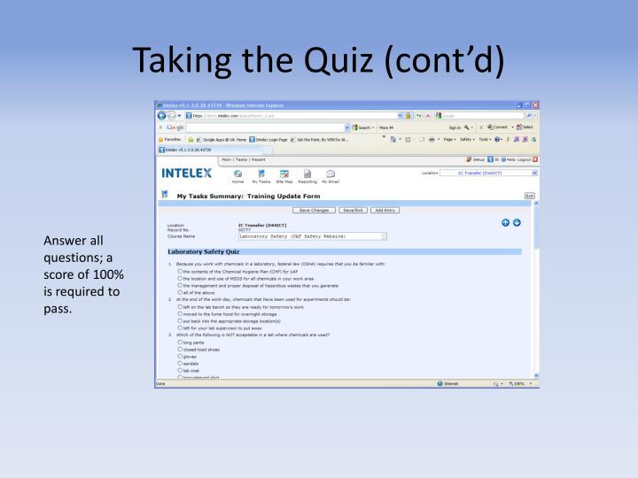Taking the Quiz