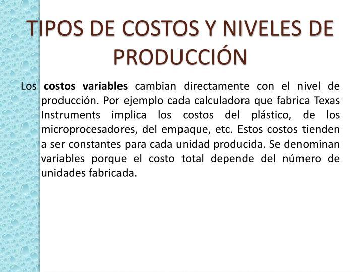 TIPOS DE COSTOS Y NIVELES DE PRODUCCIÓN
