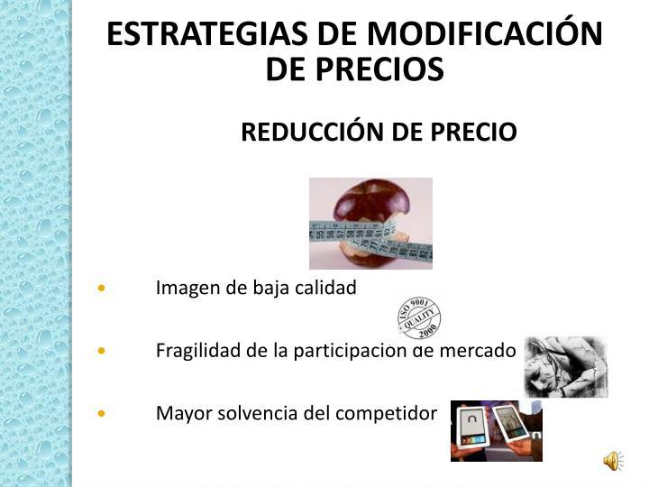 ESTRATEGIAS DE MODIFICACIÓN DE PRECIOS