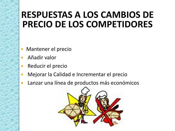 RESPUESTAS A LOS CAMBIOS DE PRECIO DE LOS COMPETIDORES