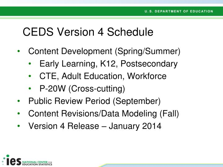 CEDS Version 4 Schedule