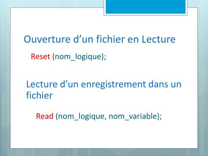 Ouverture d'un fichier en Lecture