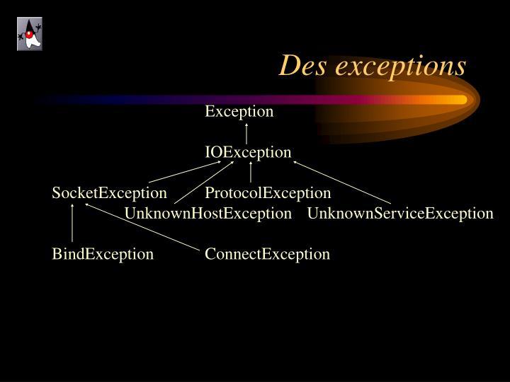 Des exceptions