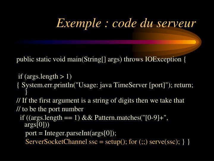 Exemple : code du serveur