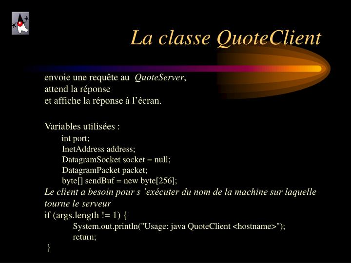 La classe QuoteClient