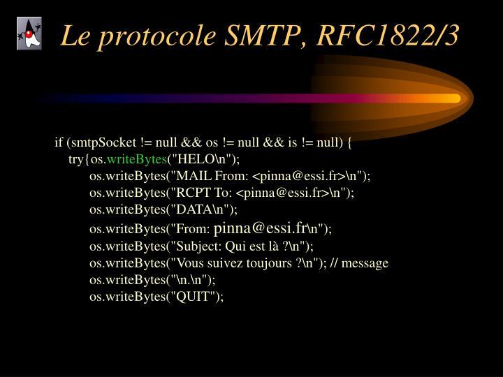 Le protocole SMTP, RFC1822/3