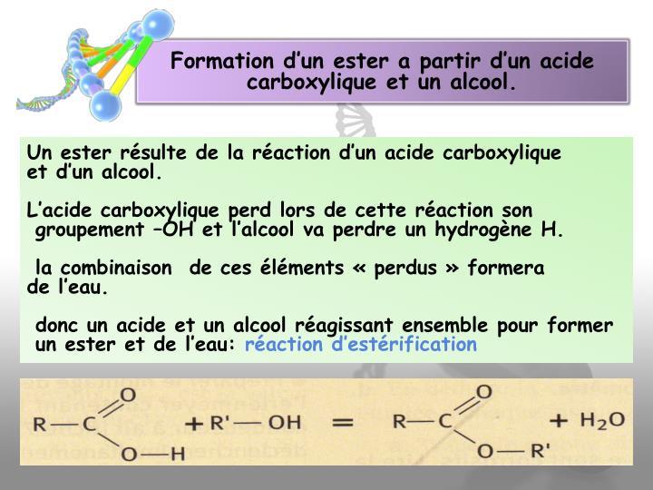 Formation d'un ester a partir d'un acide