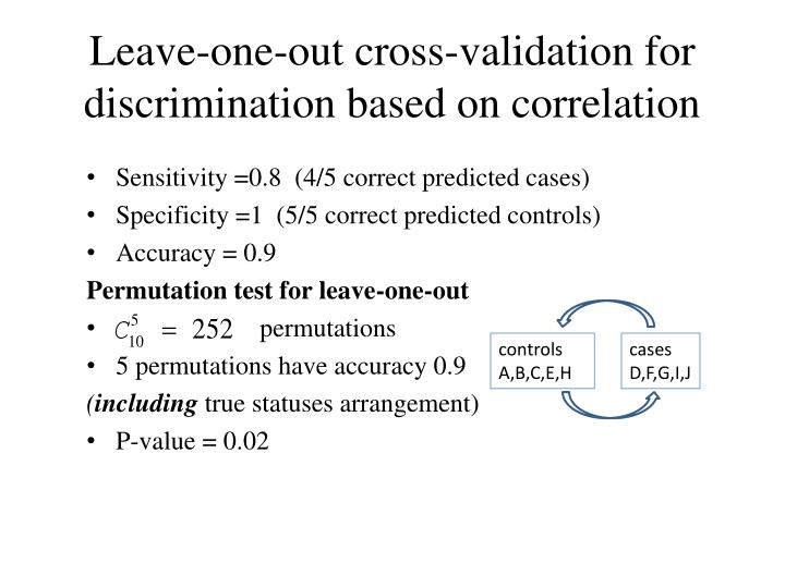 Leave-one-out cross-validation for discrimination based on correlation