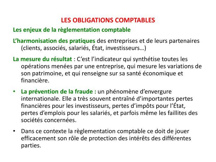 LES OBLIGATIONS COMPTABLES