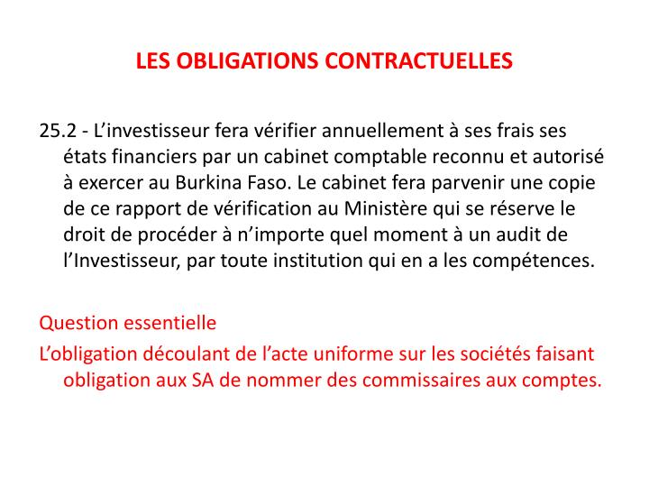 LES OBLIGATIONS CONTRACTUELLES