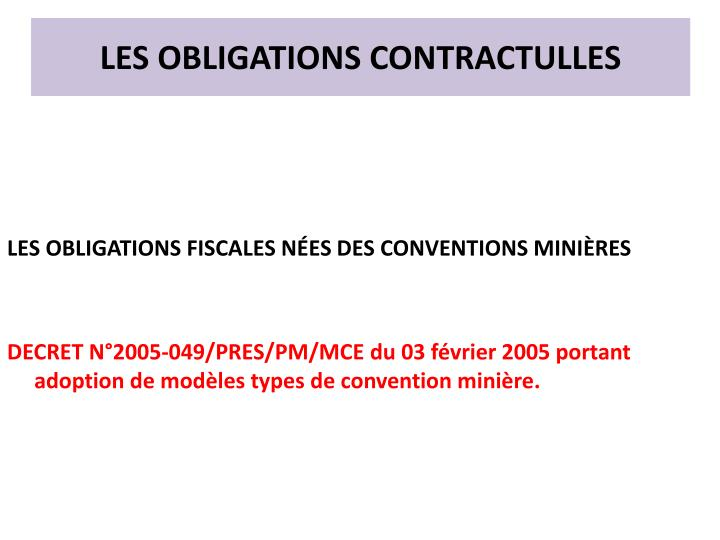 LES OBLIGATIONS CONTRACTULLES
