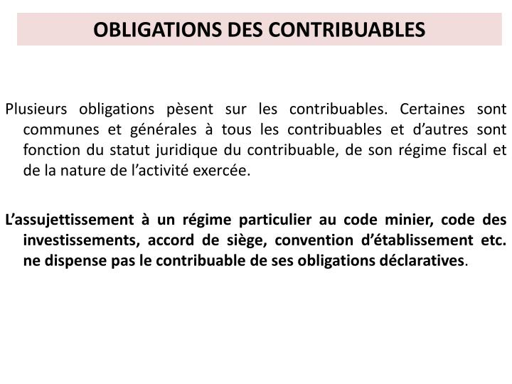 OBLIGATIONS DES CONTRIBUABLES
