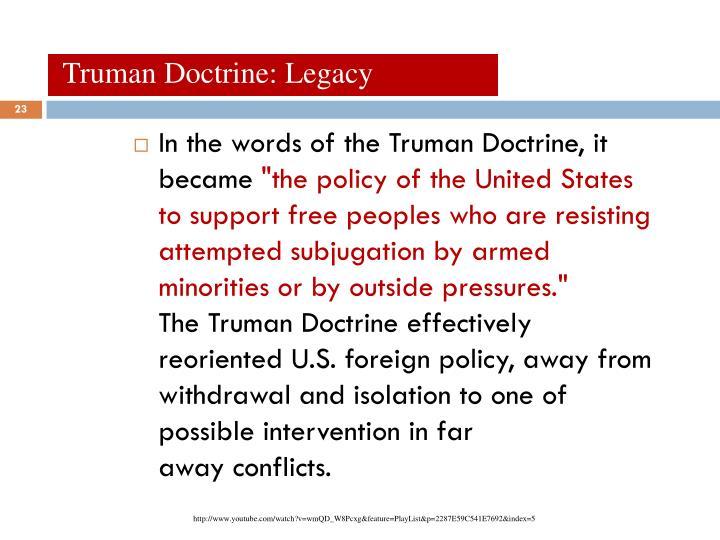 Truman Doctrine: Legacy