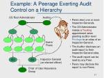 example a peerage exerting audit control on a hierarchy