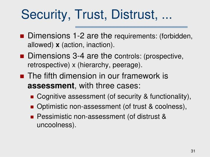Security, Trust, Distrust, ...
