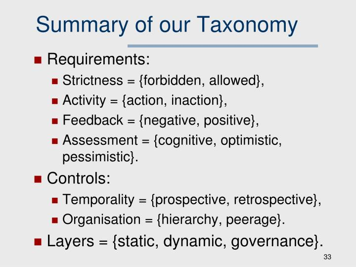 Summary of our Taxonomy