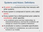 systems and actors definitions