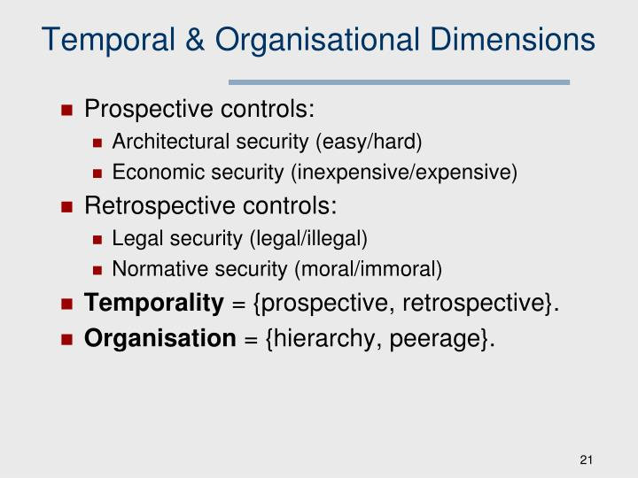 Temporal & Organisational Dimensions