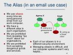 the alias in an email use case