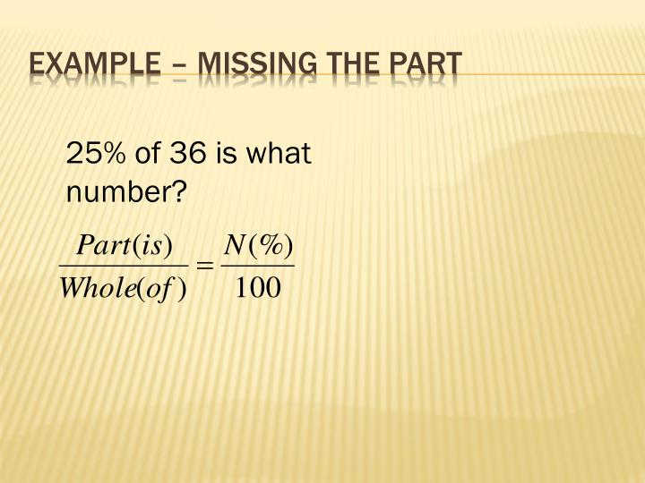 Example – Missing the Part