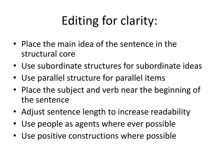 Editing for clarity: