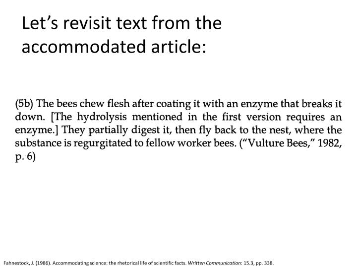 Let's revisit text from the accommodated article: