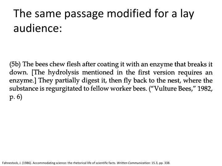 The same passage modified for a lay audience: