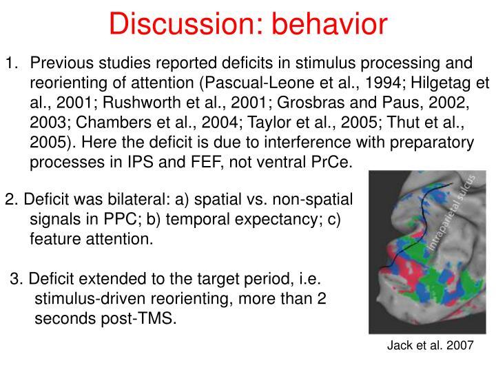Discussion: behavior