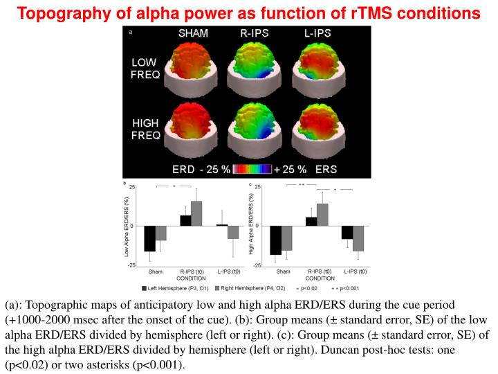 Topography of alpha power as function of rTMS conditions