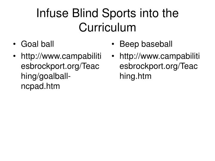Infuse Blind Sports into the Curriculum