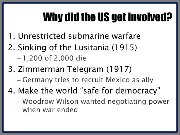 Why did the US get involved?