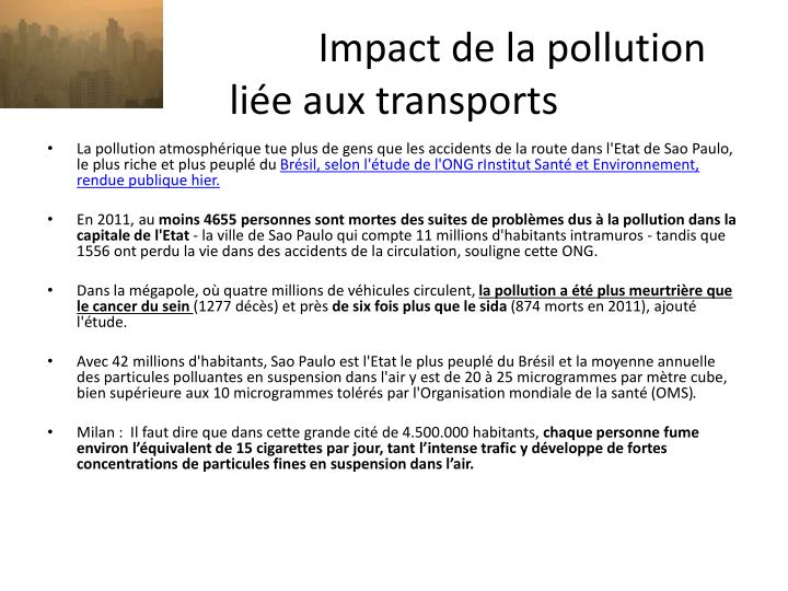 Impact de la pollution liée aux transports