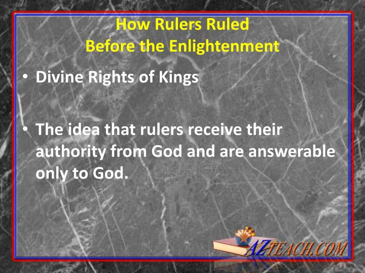 How Rulers Ruled