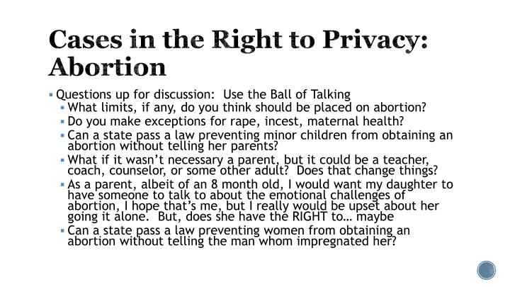 Cases in the Right to Privacy: Abortion
