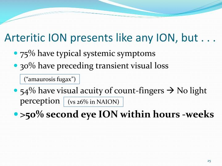 Arteritic ION presents like any ION, but . . .