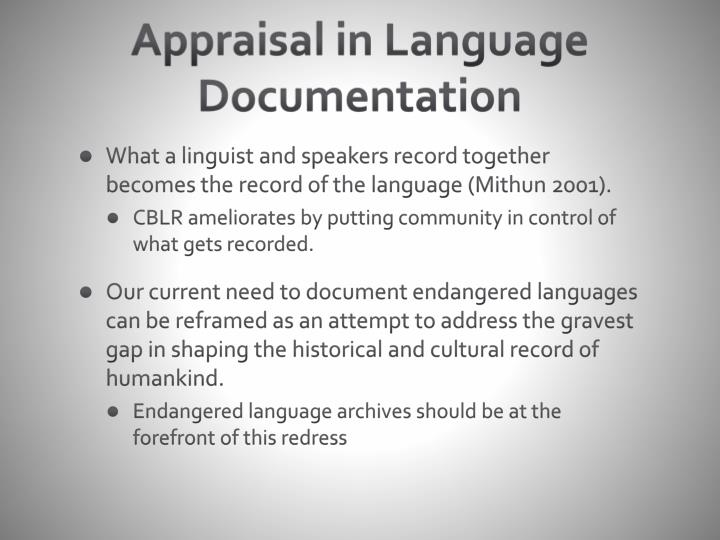 Appraisal in Language Documentation