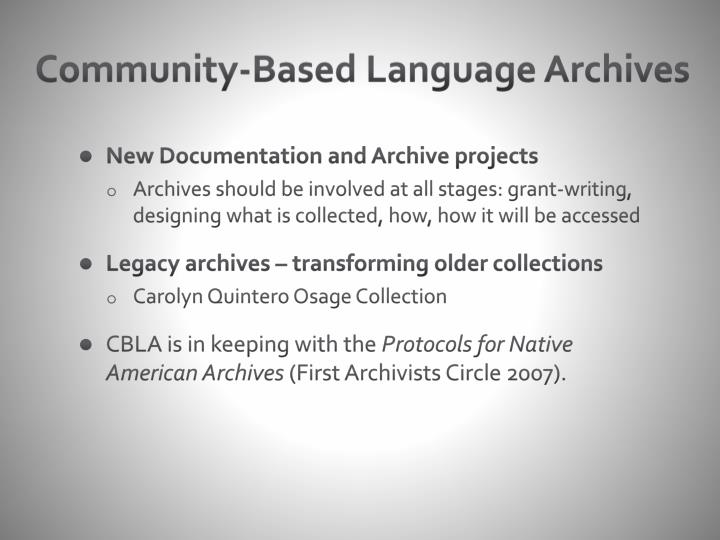 Community-Based Language Archives