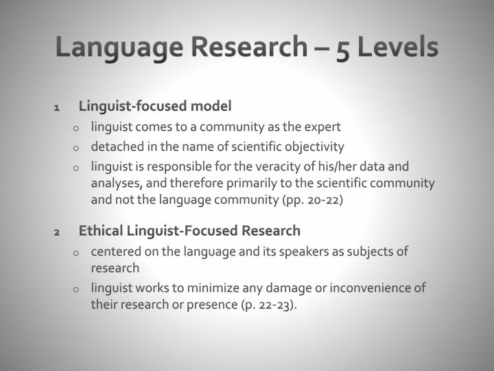 Language Research – 5 Levels