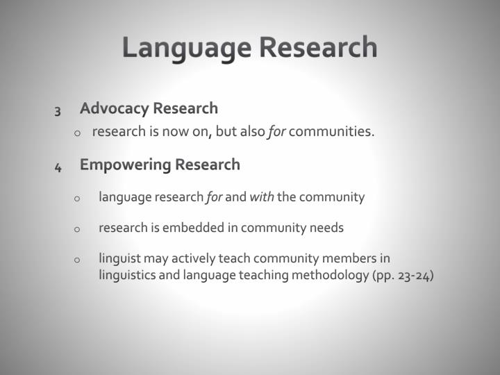 Language Research