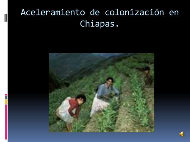 Aceleramiento de colonización en Chiapas.