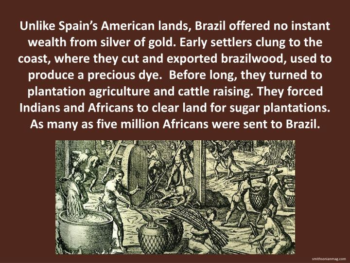 Unlike Spains American lands, Brazil offered no instant wealth from silver of gold. Early settlers clung to the coast, where they cut and exported brazilwood, used to produce a precious dye.  Before long, they turned to plantation agriculture and cattle raising. They forced Indians and Africans to clear land for sugar plantations. As many as five million Africans were sent to Brazil.