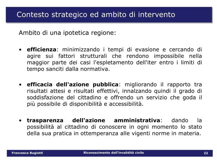 Contesto strategico ed ambito di intervento