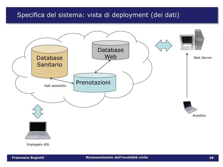 Specifica del sistema: vista di deployment (dei dati)