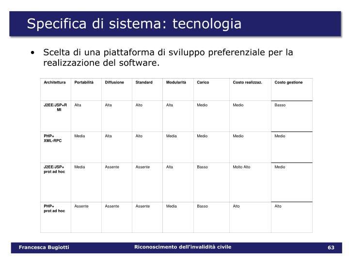 Specifica di sistema: tecnologia