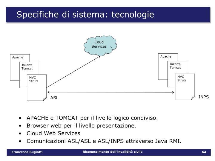 Specifiche di sistema: tecnologie