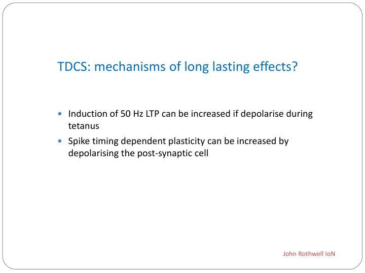 TDCS: mechanisms of long lasting effects?