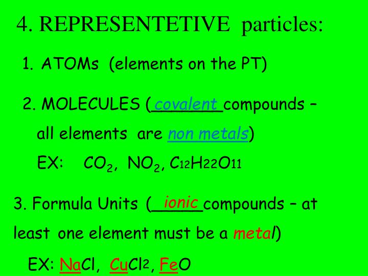 4. REPRESENTETIVE  particles: